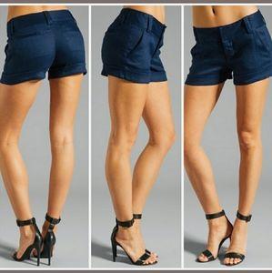 Alice + Olivia Cady Cuff Shorts Navy Linen SZ 12
